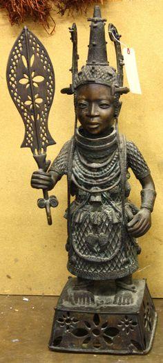 benin bronze statues | 4245: Benin style bronze statue : Lot 4245