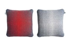 Simon Key Bertman Textile Design & Art - 2-Sided Gradient Cushion Cover - Red/Grey | beut.co.uk | handmade Scandinavian designer Cushion Covers