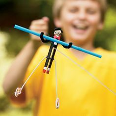 Old fashioned clothespin high-wire acrobat. Really, it does the hgih-wire!    Full instructions here: http://familyfun.go.com/crafts/crafts-by-material/pipe-cleaner-crafts/amazing-acrobats-670033/