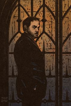 """A portrait of Crowley I drew for my friend..."" (Pinned from Gabrielle Cosco)"