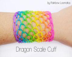 Rainbow loom dragon scale cuff