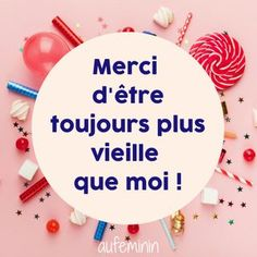 Merci ! Birthday Fun, Birthday Quotes, Birthday Greetings, Birthday Wishes, Happy Birthday Pictures, New Years Eve Party, Goods And Services, Positive Attitude, Birthdays