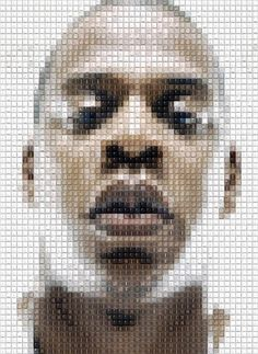 CELEBRITY MOSAIC PORTRAITS MADE FROM RECYCLED KEYBOARD KEYS