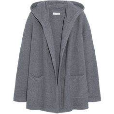 Chinti and Parker Hooded merino wool and cashmere-blend cardigan ($640) ❤ liked on Polyvore featuring tops, cardigans, jackets, outerwear, grey, chinti and parker, hooded cardigan, gray open front cardigan, merino top and grey cardigan