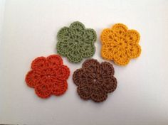 Crochet Flower Coasters Set Of 4 Fall Colors Mini Doilies