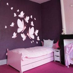 Cheap Stickers for kids room decor Purple Bedroom Decor, Bedroom Wall Colors, Diy Room Decor, Living Room Decor, Home Decor, Room Wall Painting, Room Paint, Wall Art, Bedroom Wall Designs
