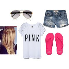 A fashion look from June 2013 featuring Victoria's Secret t-shirts, Hollister Co. shorts and Hollister Co. flip flops. Browse and shop related looks.