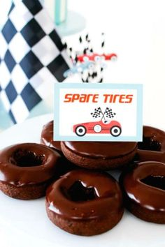Don't miss the awesome chocolate spare tire donuts at this racing car birthday party! See more party ideas and share yours at CatchMyParty.com #catchmyparty #partyideas #4favoritepartiesoftheweek #racingcar #racingcarparty #boybirthdayparty Car Birthday, Cars Birthday Parties, Disney Cars Party, Truck Cakes, Donut Party, Childrens Party, Donuts, First Birthdays, Food Ideas