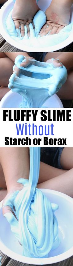 SUPER Fluffy Slime made wit hout Starch or Borax. This is a safe slime recipe made especially for kids. It uses saline solution and baking soda and has the best fluffy slime consistency. This slime is extra soft and squishy. Super Fluffy Slime, Fluffy Slime Recipe, Easy Slime Recipe, Borax Slime, Diy Slime, Art Therapy Activities, Activities For Kids, Sensory Activities, Sensory Play