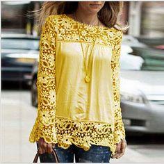 Long Crochet Sleeve Blouse - Multiple Colors