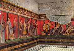 Painting showing a ritual passage into an unnamed religion on the walls of the Villa of the Mysteries in Pompeii, 2nd style.  Notice how the architectural elements separate the walls into different sections but the people are painted on top of them. Ritual Passage into an Unnamed Religion. N.d. Villa of the Mysteries in Pompeii. ACTA ACCLA. Web. 27 Sept. 2011.