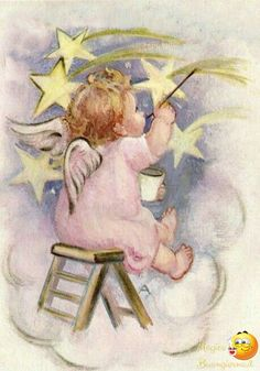 Vintage Christmas Card Little Angel Painting Stars Images Victoriennes, Angel Images, Angel Pictures, Vintage Christmas Cards, Vintage Cards, Christmas Angels, Christmas Art, Baby Engel, Angels Among Us
