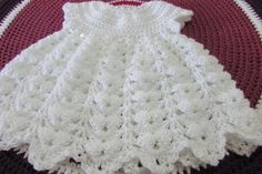 Dress Chantilly for baby, level easy, easy. First part. Crochet Baby Dress Free Pattern, Baby Dress Patterns, Hand Crochet, Crochet Patterns, Crochet Yarn, Crochet Toddler, Baby Girl Crochet, Crochet Baby Clothes, Baby Overall