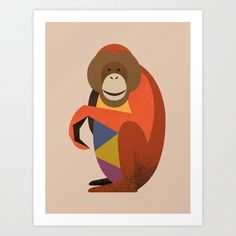 Orang Utan // Art Print, Wall Art, Poster // Wildlife of Asia series which also includes Tiger and Giant Panda // Nursery Decor, Nursery Art Prints, Nursery Animals, Asian Art Print, Asian Animal, Orang Utan Illustration, Orang Utan Art, Orang Utan Nursery, Asian Wildlife, Baby Shower, Baby Gifts, Kids Room, Retro Animal, Mid-century Animal, Animal Illustration, Kids Poster, Kids Art Print, Nursery Art Print, Childrens Room, Nature Art Print