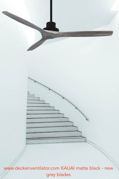 Vam AC-Deckenventilator Kauai in schwarz mit Vollholzflügeln new grey 132 cm - Temperaturautomatik - 3 Stufen und TImer - alles per Fernbedienung Kauai, Garden Tools, Solid Wood, Bronze, Black Picture, Remote, Contemporary Design, Timber Wood, Yard Tools
