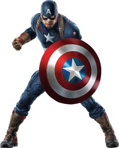 Avengers Age of Ultron, Captain America in Fighting Stance with Shield Raised and Fist on White Background 8 X 10 Inch Photo