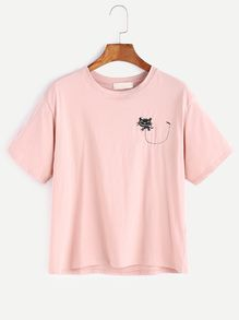 Pink Cat Embroidered T-shirt