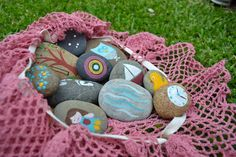 Story Stones and an Easy Doily Draw-String Bag
