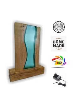 Nová lampa vyrobená z duba a korálovomodrej živice. Led Lamp, Bookends, Home Decor, Decoration Home, Room Decor, Home Interior Design, Home Decoration, Interior Design