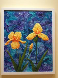 Yellow Irises: acrylic and paper on canvas board. https://www.facebook.com/NyreeMasonArt