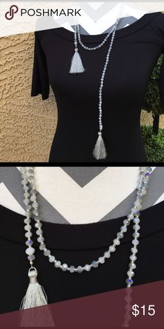 Draping Tassel Necklace Brand New Without Tags - Beautiful Necklace in prismatic gray shades Jewelry Necklaces