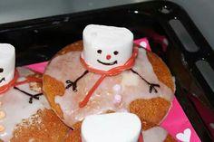Sneeuwpop op eierkoek