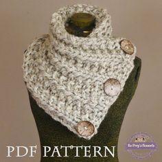 Knit Scarf PATTERN - Knitting PATTERN Chunky Button Neckwarmer Pattern - THE LANCASTER SCARF Pattern - Knit Cowl Pattern - Knit Pattern