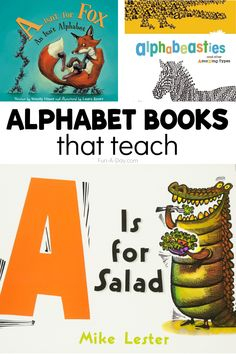 Learning the alphabet can be so much FUN with these alphabet books! Each has a great educational component and enforces early literacy skills. There's books for toddlers, preschool, kindergarten, and even some YOU will enjoy! Preschool Teacher Tips, Preschool Lesson Plans, Preschool Books, Preschool Kindergarten, Alphabet Books, Learning The Alphabet, Kids Learning, Mobile Learning, Literacy Skills