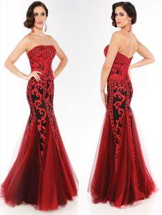 Vestido largo de corte sirena color rojo