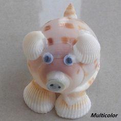 Cute little pig made of sea shells