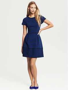Banana Republic Mixed Stripe Fit-and-Flare Dress  Inverted pleats and sporty mixed stripes give this dress a flirty, wear-anywhere style.