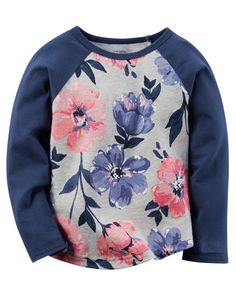 T-shirt floral à manches raglan pour bébés filles | Carter's OshKosh Canada