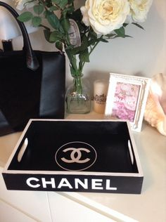 Replica Chanel Tray Black with white logo by CopacabanaBeach Diy Room Decor, Living Room Decor, Bedroom Decor, Chanel Bedroom, Chanel Bedding, Chanel Baby Shower, Glamour Decor, Chanel Decor, Chanel Party