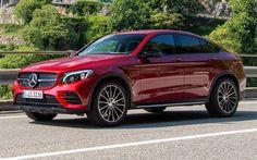 Télécharger fonds d'écran Mercedes-Benz GLC 350 d AMG Line Coupé, 2016 voitures, C253, voitures allemandes, rouge GLC, Mercedes