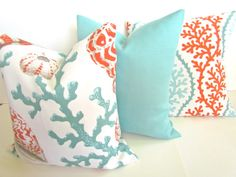 Aqua Mint and Orange Coral Cushions. Etsy. Coastal Decor. Tropical Decor