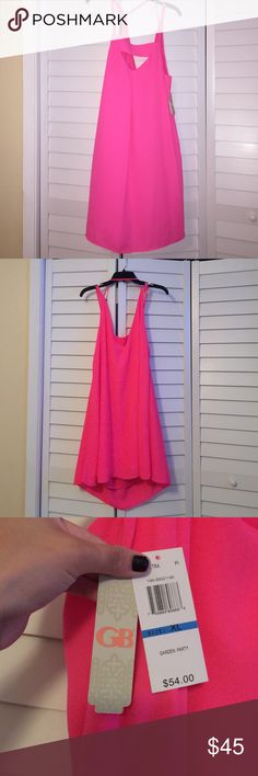 Hot pink dress!  GB in juniors, XL! Beautiful GB dress, still has tags.  Never worn!!!! Gianni Bini Dresses
