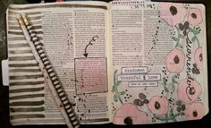 My Target Dollar Spot inspiration.  Gray & Pink.  Flowers & Stripes.  Colossians 3:12-17  really spoke to my heart tonight.  #worship #illustratedfaith #biblejournaling #biblejournalingcommunity by alyce_rawls