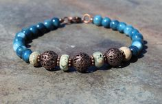 Blue River Shell Bead Bracelet with Jasper and by SlatedInSpirit