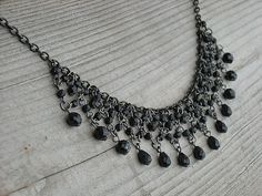 Choker Necklace Gothic Goth Black Beaded Necklace by InkandRoses13, $21.99