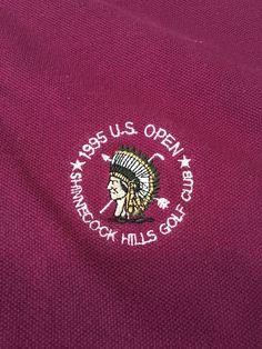 Men's Vintage Aureus 1995 U.S. OPEN Golf Polo Shirt - Wine Color - Size XL