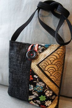 "Hand made bag made from Japanese Obi (Kimono) fabric. shoulder bag ""Hand made bag made from Japanese Obi (Kimono) fabric. shoulder bag More"", ""Denim and Sacs Tote Bags, Tote Purse, Crossbody Bag, Fabric Handbags, Fabric Purses, Handmade Purses, Handmade Handbags, Handmade Fabric Bags, Patchwork Bags"