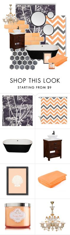 """Bathroom Cool Tones"" by metter1 ❤ liked on Polyvore featuring interior, interiors, interior design, home, home decor, interior decorating, Cole & Son, Americanflat, bathroom and orangeandblack"