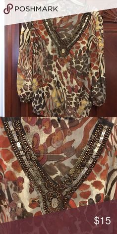 New directions blouse Mixture of animal print and beaded boarder around the neck new directions Tops Blouses