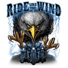 Biker Tshirt Ride Like The Wind Eagle Spirit Chopper Route 66 Helmet Rally Road #Unbranded #GraphicTee