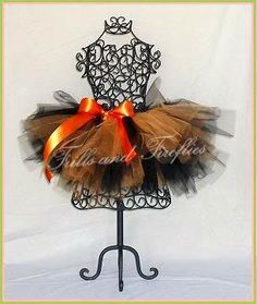 Orange and Black Full and Puffy Tutu with Orange Satin Bow in Baby to Adult Sizes by Frills and Fireflies, $32.00