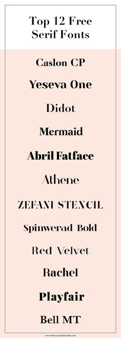 Collection of free, luxe, minimal serif fonts you can download and use right now. Follow the links below, download the files and install on your computer. Voilà they're ready to go. Caslon CP / Yeseva One / Didot / Mermaid / Abril Fatface / Athene / Zefani / Spinwerad Bold / Red Velvet / Rachel