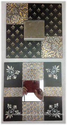Malmas decorados Más Mirror Mosaic, Mirror Art, Mosaic Wall, Diy Projects To Try, Crafts To Make, Ikea Mirror Hack, Copper Artwork, Mirror Crafts, Decoupage Box