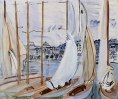Raoul Dufy (French, 1877-1953), Le séchage des voiles [Drying the Sails], Deauville, 1935. Oil on canvas, 60 x 73 cm.