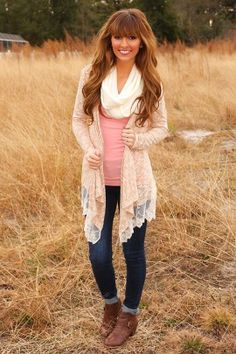 Only When I Dream Cardigan: Tan/Ivory