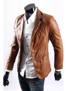simple and nice brown leather jacket